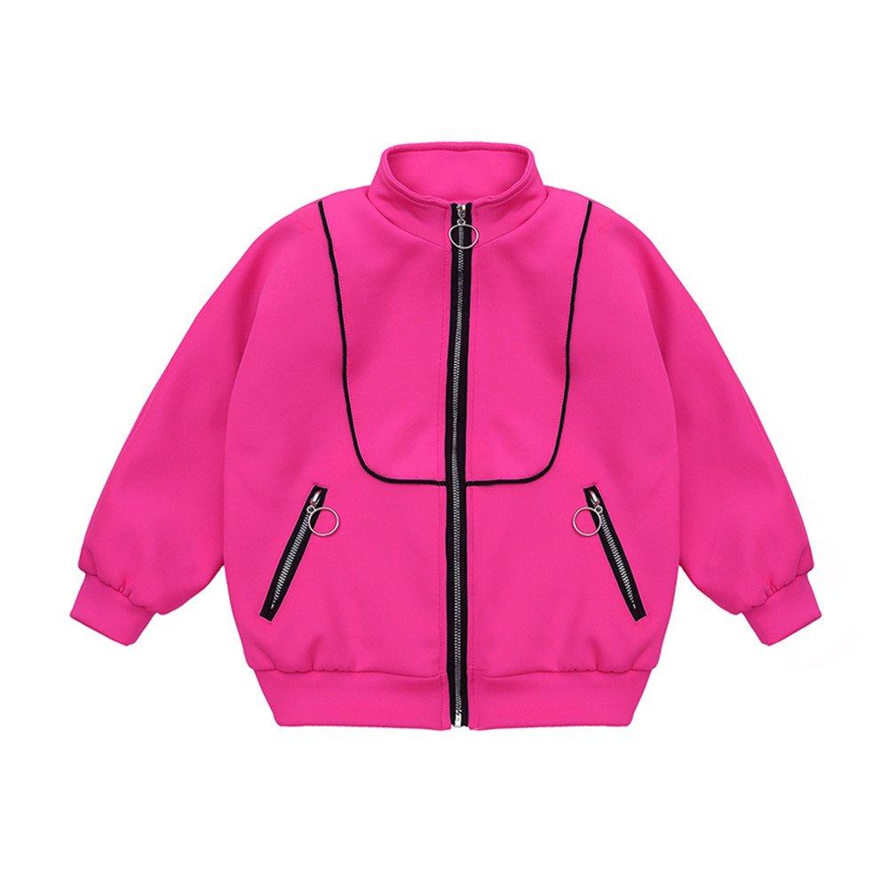 Kids Girls Bomber Jacket Baseball Jacket Cute Fashion Size 10-12 (6, Rose)