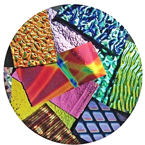ON SALE, Assorted Dichroic on BLACK Glass Pieces - 90 coe - 4oz, Made in ()
