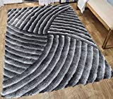 Cheap Shag Shaggy Quality Fluffy Fuzzy Furry Modern Thick Plush Soft Pile Living Room Bedroom Contemporary Area Rug Carpet Silver Grey Gray Two Tone Color Patterned 8×10 Cheap 3D Discount ( SAD 259 Gray )