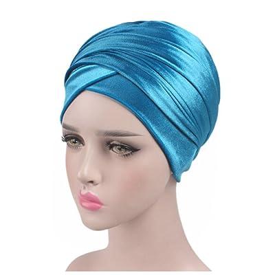 ODN Femme Bonnet Chapeau Turban Plissé Tête Enroulez Indien Foulard Extensible Tissu bleu