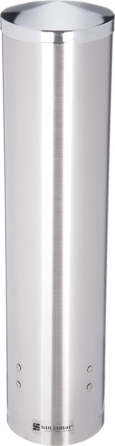 San Jamar C3250 Stainless Steel Large Pull Type Water Cup Dispenser, Fits 4-1/2oz to 7oz Cone and 6oz to 12oz Flat Cup Size, 2-3/4 to 3-3/8 Rim, 16 Tube Length 16 Tube Length C3250SS