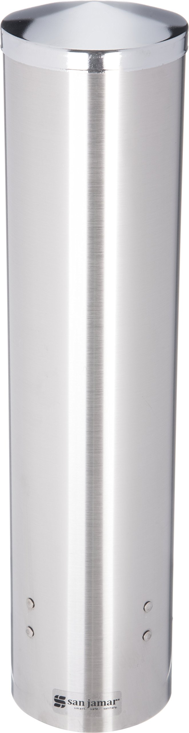 San Jamar C3250 Stainless Steel Large Pull Type Water Cup Dispenser, Fits 4-1/2oz to 7oz Cone and 6oz to 12oz Flat Cup Size, 2-3/4'' to 3-3/8'' Rim, 16'' Tube Length