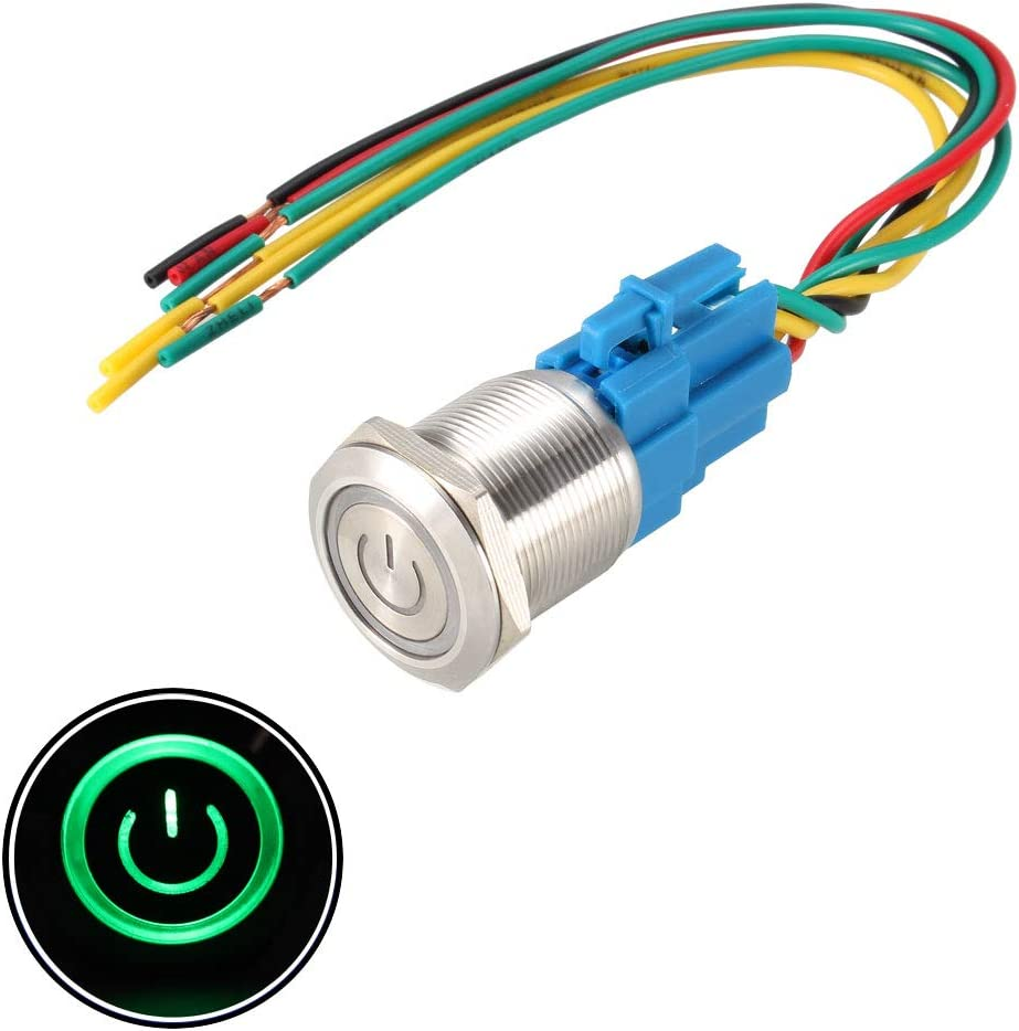 uxcell Latching Metal Push Button Switch 22mm Mounting Dia 1NO 1NC 12V Green LED Light with Socket Plug Wire