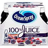 Ocean Spray 100% Juice, Cranberry Concord Grape, 10 Ounce Bottle (Pack of 6)