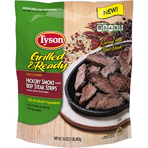 Beef Cooked - Tyson Grilled & Ready Fully Cooked Hickory Smoke Flavored Beef Steak Strips, 16 oz. (Frozen)