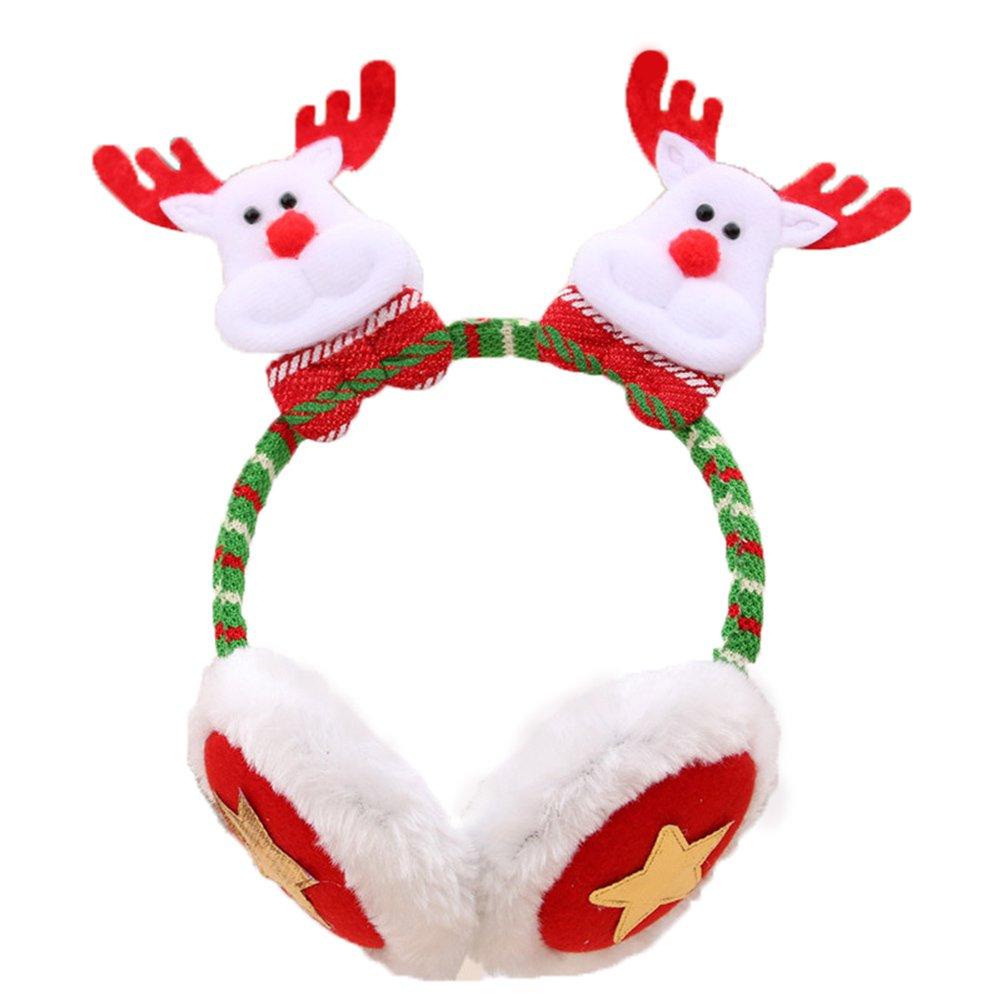 Elk Vikenner Cute Christmas Headband with Earmuff Xmas Hairband Hair Hoop Fancy Dress Headpiece for Festival Costume Party Dress Up