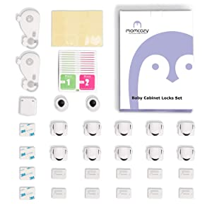 Baby Proofing Cabinet Locks, Momcozy Child Safety Magnetic Cabinet and Drawer Locks Baby Cabinet Safety Latches for Proofing Kitchen Drawers Cabinets Cupboard Invisible Design 14 Pack