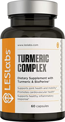 LES Labs Turmeric Curcumin, Joint Support Supplement for Mobility, Cardiovascular Health Inflammatory Response with BioPerine 95 Curcuminoids Extract, 700mg, 60 Capsules