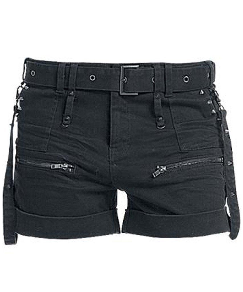 WellDressing Junior's Punk Style Straight Overalls Design Denim Shorts
