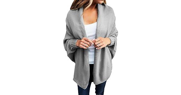 7df15cba88 Women s Casual Long Dolman Sleeve Draped Open Front Cozy Loose Knit  Cardigan Sweaters Oversized Outwear Coat Grey S 4 6