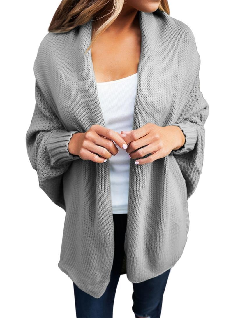 Dearlove Women's Casual Long Dolman Sleeve Draped Open Front Cozy Loose Knit Cardigan Sweaters Oversized Outwear Coat Grey XXL 18 20