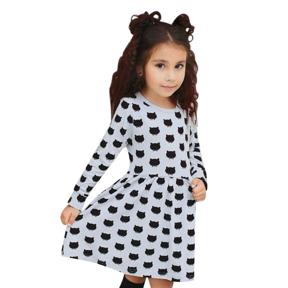 Little Girls Long Sleeve Cotton Cartoon Cat Dress with Striped Pockets Fall Skirt for Legging Halloween (White+Black, 100:95-105cm for 3-4Y)