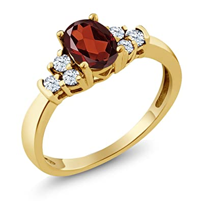 4eb5314c8 Gem Stone King 0.79 Ct Oval Red Garnet White Topaz 925 Yellow Gold Plated  Silver Ring