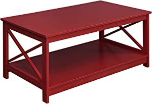 Convenience Concepts Oxford Coffee Table, Cranberry Red