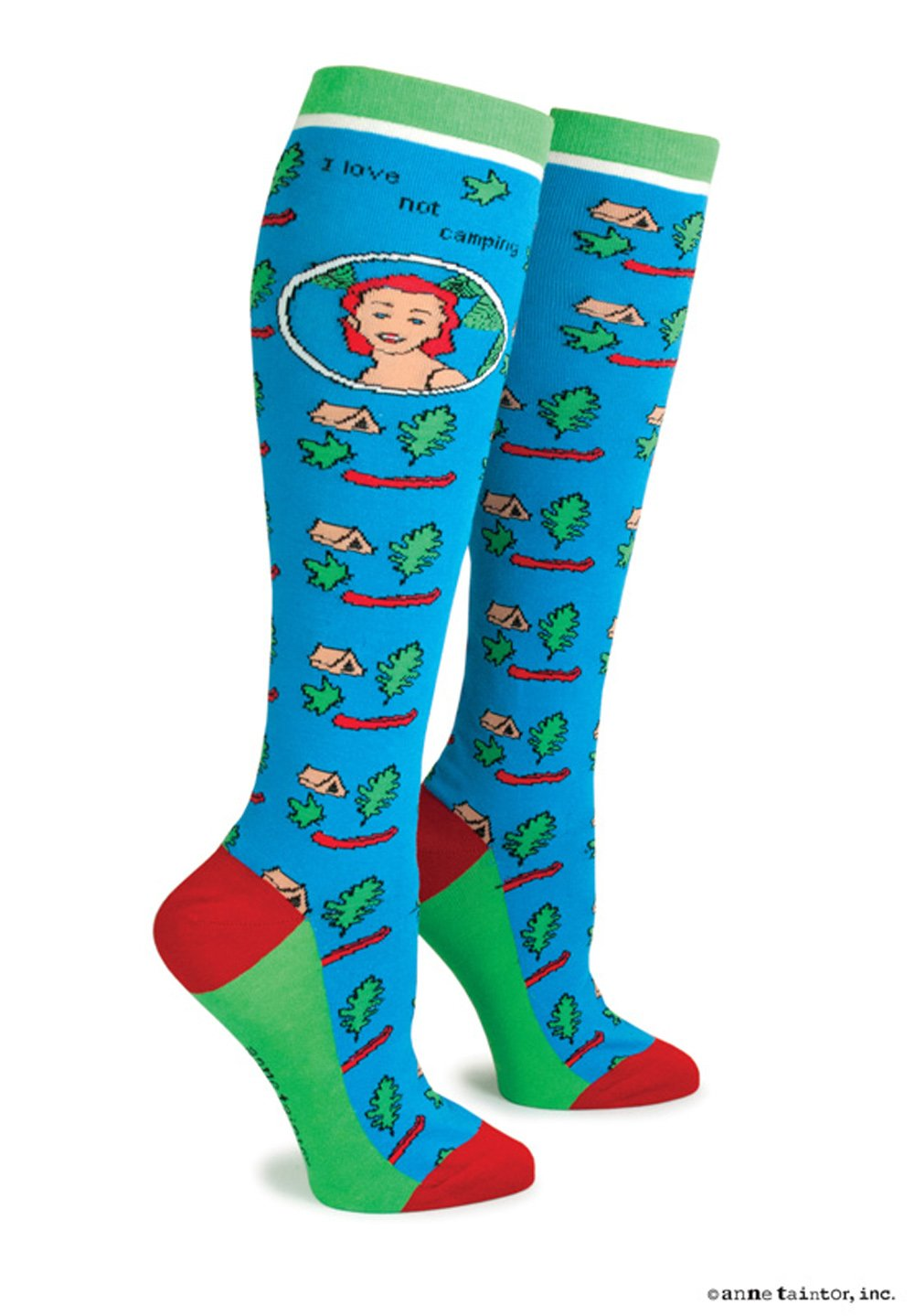 Anne Taintor Women's Colorful Patterned Cotton Knee Socks - I Love Not Camping
