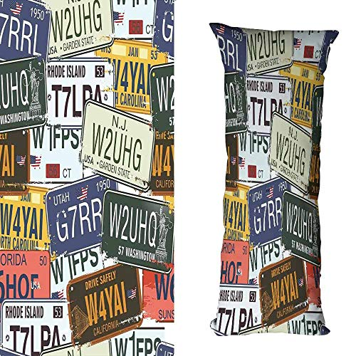 duommhome Vintage Decor Polyester Pillowcase Original Retro License Plates Creative Travel Collections Art Soft and Durable W15.7X L47.2 inch Green Blue Yellow ()