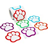 "Paw Print Name Tags Labels Perforation Line Design Stickers - 200 ct - 5 Assorted Colors - 2 3/4"" x 2 1/2"""