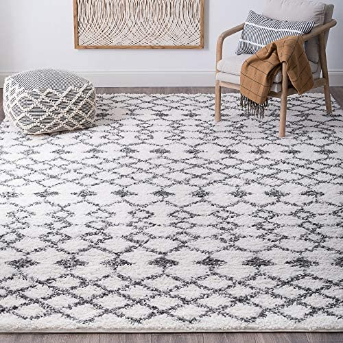 Tayse Maddie White 8x10 Shag Rectangle Area Rug