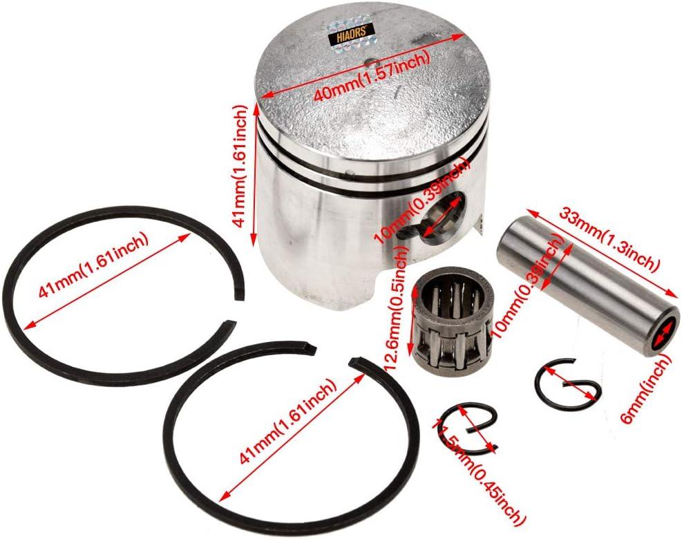HIAORS 40mm Bore Cylinder Kit with Piston Spark Plug 10mm Wrist Pin for 2 Stroke 47cc 49cc Pocket Bike Mini Chopper Quad Parts