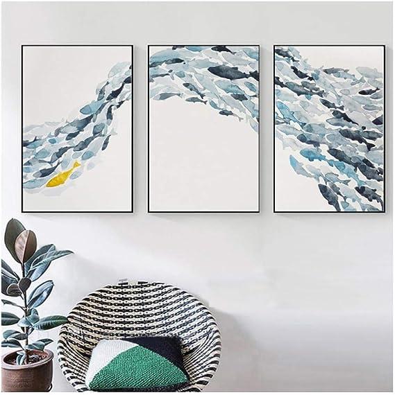 Grupo de peces abstractos simples n/órdicos Carteles Impresiones Arte de la pared Impresi/ón en lienzo Pintura Imagen decorativa Sala de estar Impresi/ón en lienzo sin marco 50x70cmx3pcs