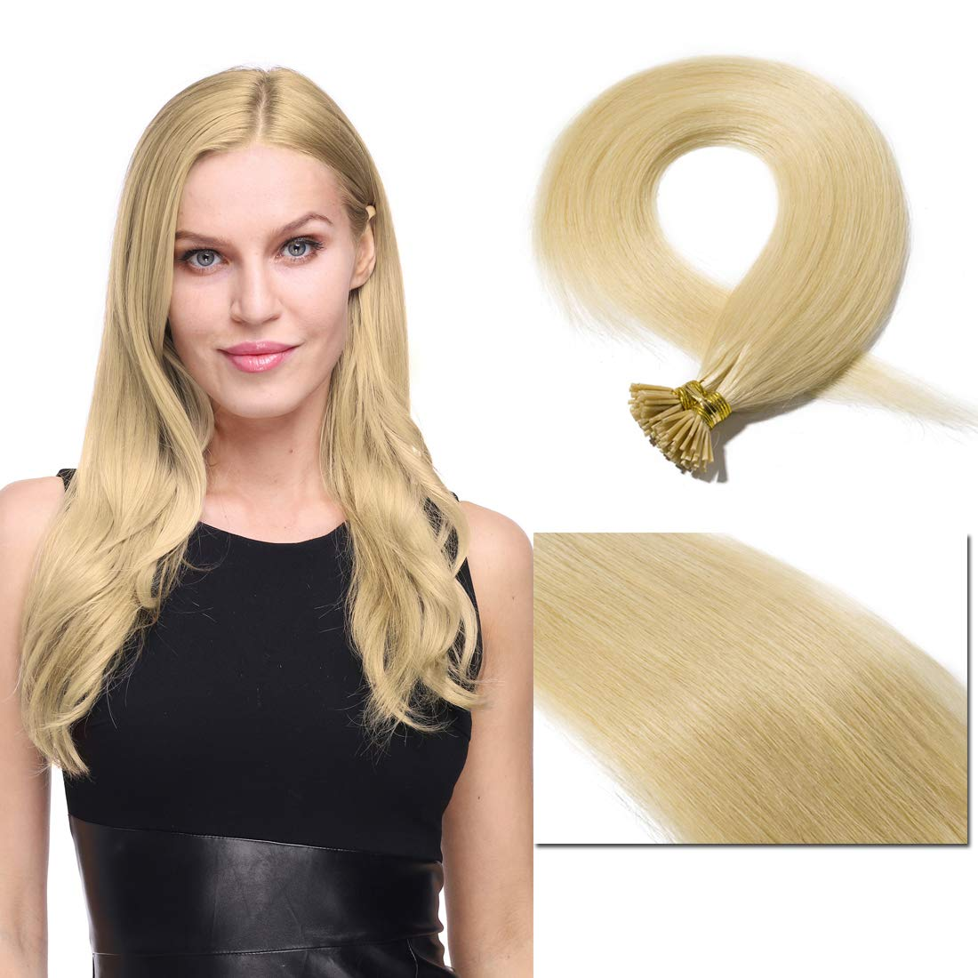 Pre bonded I Tip Human Hair Extension for Women Fusion Stick Tip Remy Human Hair Piece Invisible Keratin Glue in Hair Extensions Full Head 100 Strands 50 Gram 18Inch #613 Bleach Blonde