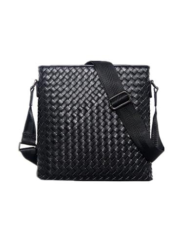 Men s Classic Business Cowhide Woven Shoulder Bag Vertical Section Shoulder  Messenger Bag (Black) bf5cdbfcfbefa