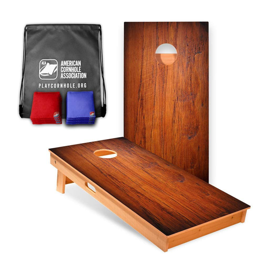 Official Cornhole Boards & Bags Set - American Cornhole Association - Dark Wood Design - Heavy Duty Wood Construction - Regulation Size Bean Bag Toss for Adults, Kids - Lawn, Tailgate, Camping by ACA American Cornhole Association