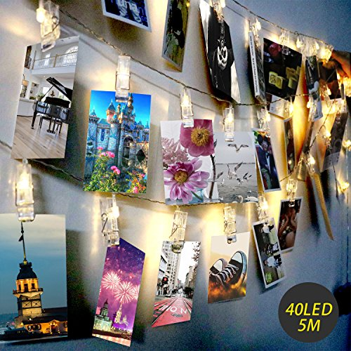 LED Photo Clip String Lights - Exqline 40 Photo Peg Lights 5M Battery Powered Christmas Fairy Lights Perfect for Hanging Photos, Notes, Paintings Card and Memos Indoor Outdoor Decoration - Warm White