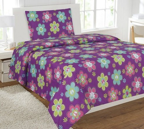 Elegant Home Multicolor Purple Pink Blue Flowers Floral Themed Design 3 Piece Printed Sheet Set with Pillowcase Flat Fitted Sheet for Girls / Kids/ Teens # Purple Flower (Twin Size)
