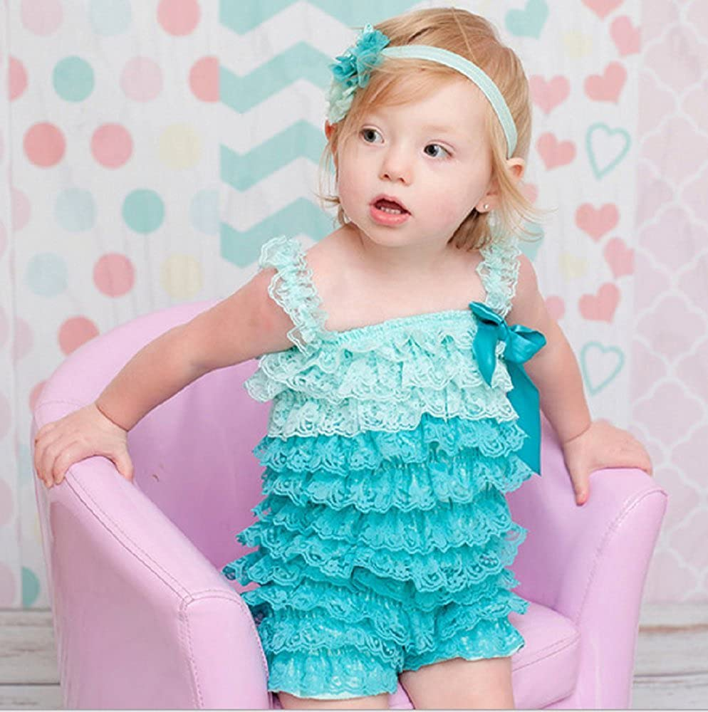 4bfc992a45b Amazon.com  Zcaynger Baby Girls Clothes Lace Romper Spaghetti Ruffle Tiered  Jumpsuit  Clothing