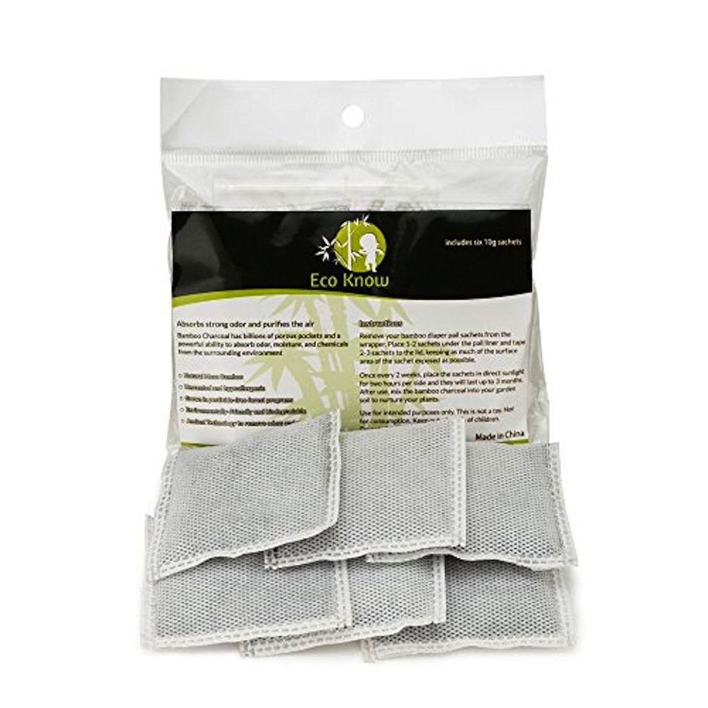 Natural Bamboo Charcoal Diaper Pail Deodorizers - Package of 6 Total Eco-Know