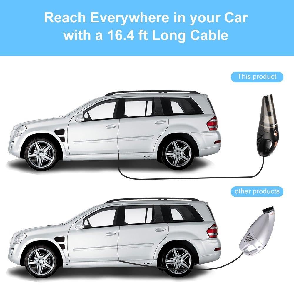 Aspiradora de mano de Bagotte, 12 V, 106 W, 3500 Pa de succión en humedad y en seco, para limpiar el coche con cable de alimentación de 5 m y accesorios, ...