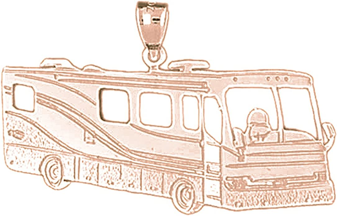 14K Yellow Gold-plated 925 Silver Bus Pendant with 18 Necklace Jewels Obsession Bus Necklace