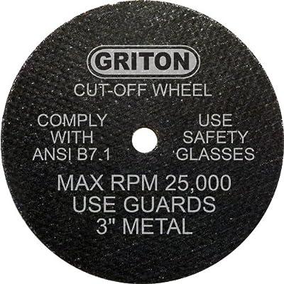 "Griton CA3032 Arbor Industrial Cut Off Wheel for Metal, 1/4"" Hole Diameter, 3"" Diameter, 0.040"" Width (Pack of 50)"