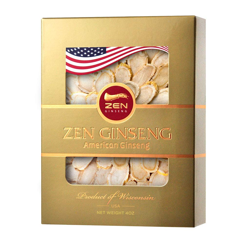 ZenGinseng American Wisconsin Hand-Selected Ginseng Slice 4oz Box