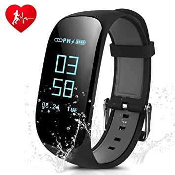 Fitness Tracker, CAMTOA IP67 Impermeable Pulsera de Fitness, Bluetooth Sport Activity Tracker, 0.96 OLED Touchscreen Inteligente Smartband, Monitor ...