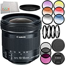 Canon EF-S 10-18mm f/4.5-5.6 IS STM Lens 8PC Filter Kit. Includes Canon EF-S 10-18mm f/4.5-5.6 IS STM Lens + 3PC Filter Kit (UV-CPL-FLD) + 4PC Macro Filter Set (+1,+2,+4,+10) + 6PC Graduated Filter Kit + More - International Version (No Warranty)