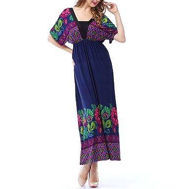 Summer Printing Bohemian Plus Size Dress Sleeved Sleeveless Dress