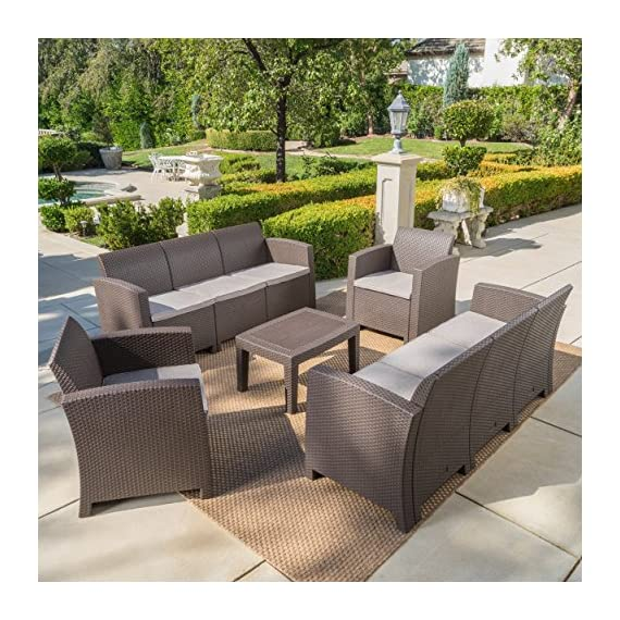 Great Deal Furniture Jaimaca Outdoor 5 Piece Brown Faux Wicker Rattan Style Chat Set with Sofa and Mixed Beige Water Resistant Cushions - This versatile outdoor ensemble is perfect for parties and can be arranged in endless ways according to your mood. Both frame and wicker are made from polypropylene providing you with a low maintenance, easy to assembly, rust-resistant, and easy to clean set Sculpted to provide the ultimate comfort, its wicker-style supports and water resistant fabric cushions will last for years and years. Includes: One (1) Sofa, One (1) Loveseat, Two (2) Club Chairs, and One (1) Coffee Table Loveseat Dimensions: 25.82 inches deep x 67.70 inches wide x 29.92 inches high Club Chair Dimensions: 25.82 inches deep x 26.77 inches wide x 29.92 inches high Seat Width: 20.75 inches Seat Depth: 19.25 inches Seat Height: 15.00 inches Table Dimensions: 19.88 inches deep x 27.55 inches wide x 15.00 inches high - patio-furniture, patio, conversation-sets - 61FL6bSIceL. SS570  -