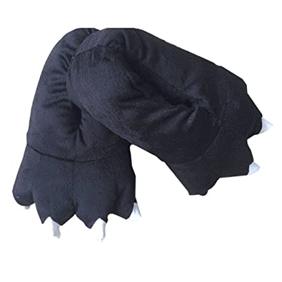 chaussons homme hiver animaux fantaisie peluche noir Griffe pantoufles patte 762osMJg