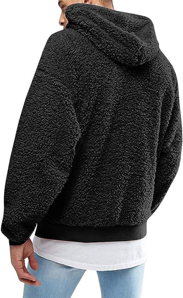 Runcati Mens Fuzzy Sherpa Pullover Hoodie Sweatshirts Long Sleeve Sport Front Pocket Fall Outwear Winter Hooded 01 Black