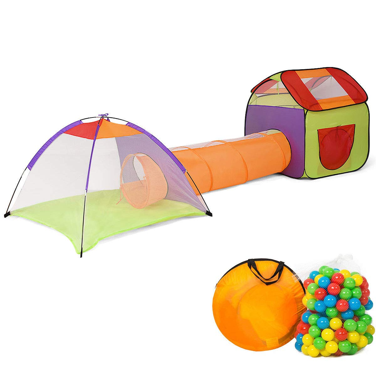Globe House Products GHP Polyester Steel Wire Kids Foldable Playhouse Tunnel & Tent with 200-Pcs Balls by Globe House Products (Image #1)