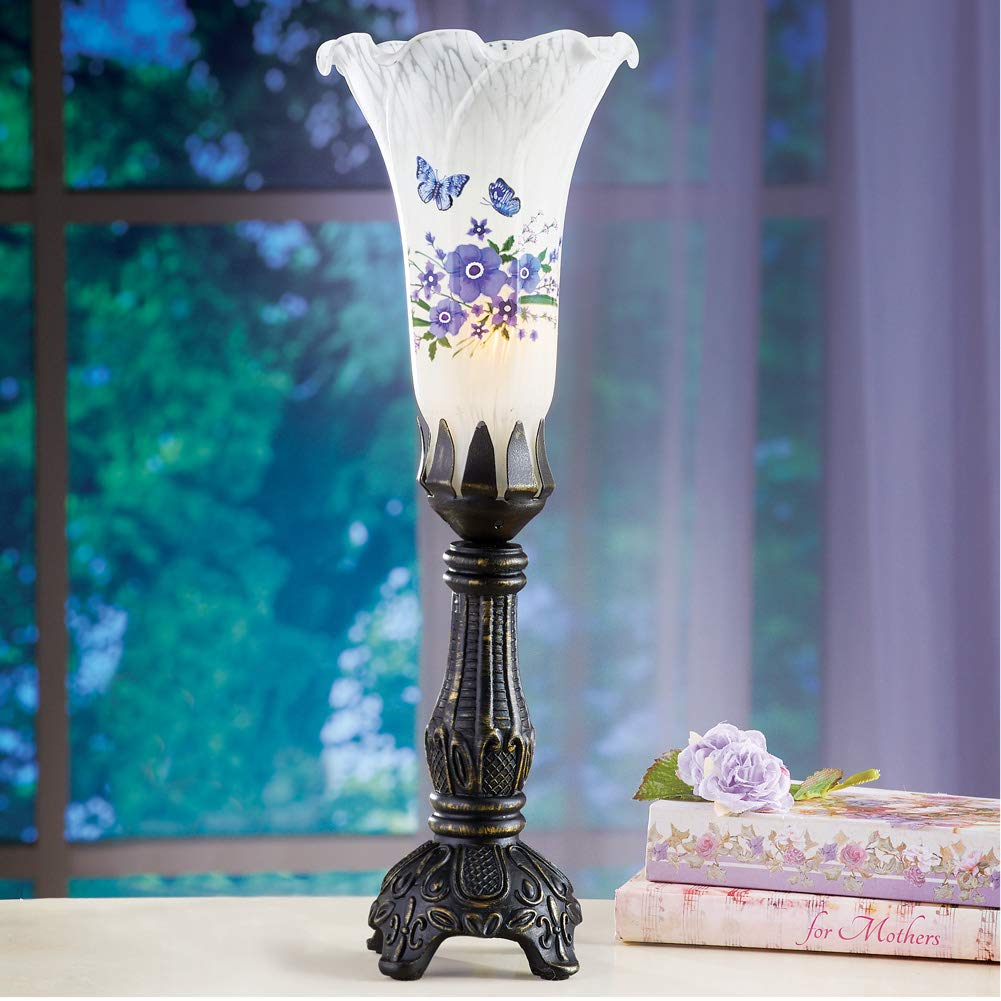 Collections Etc Tulip-Shaped Lavender Floral and Butterfly Lamp with Antique Base Tabletop Lighting for Any Room in Home