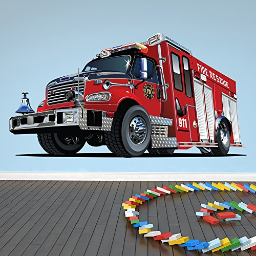Red Fire Engine Wall Sticker Fire Truck Wall Decal Boys B...
