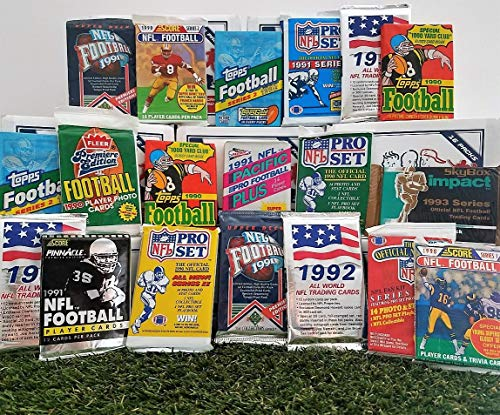 Over 200 Vintage Football cards in 20 Vintage Unopened football Wax Packs from various brands from the 80's & 90's. Guaranteed one AUTOGRAPH or MEMORABILIA card per box! Great for 1st time collectors! ()