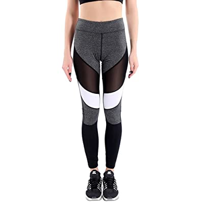 1Bests Women Active Mesh Hollow Out Patchwork Grey Stretch Pants Sport Yoga Compression Leggings