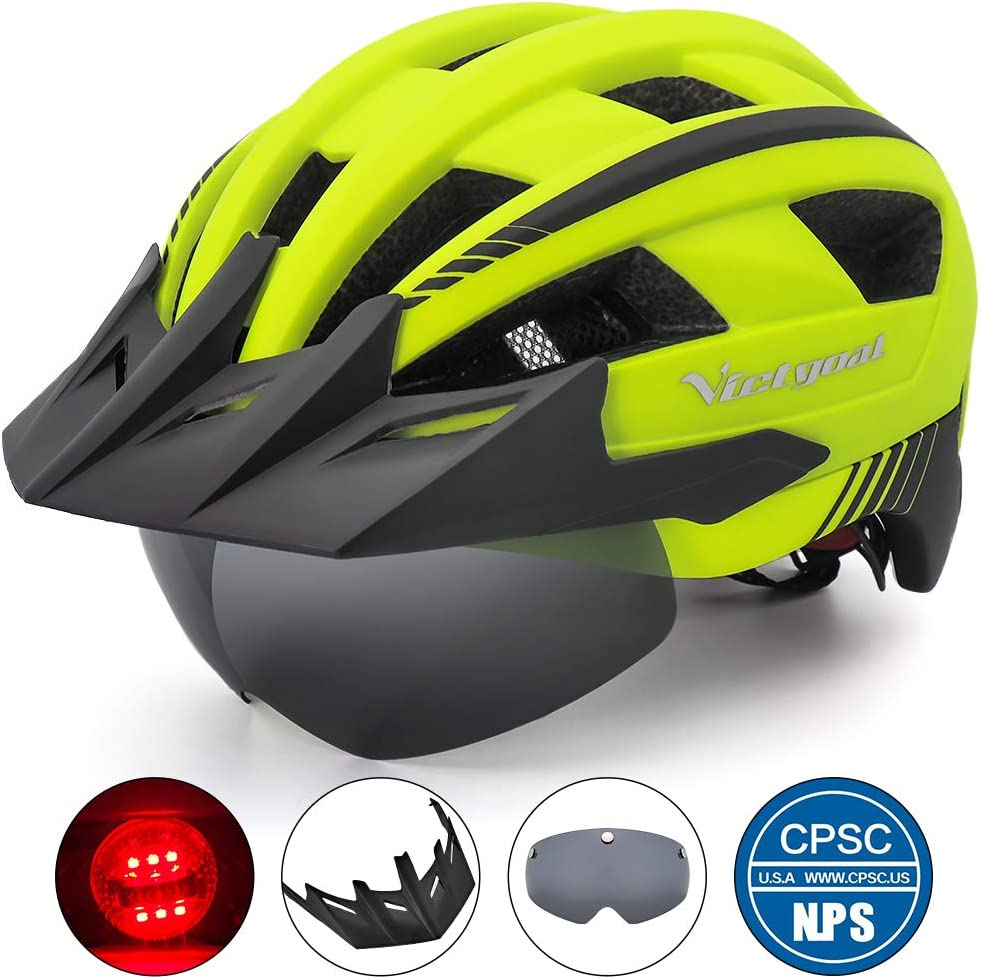 VICTGOAL Bike Helmet for Men Women with Led Light Detachable Magnetic Goggles Removable Sun Visor Mountain Road Bicycle Helmets Adjustable Size Adult Cycling Helmets