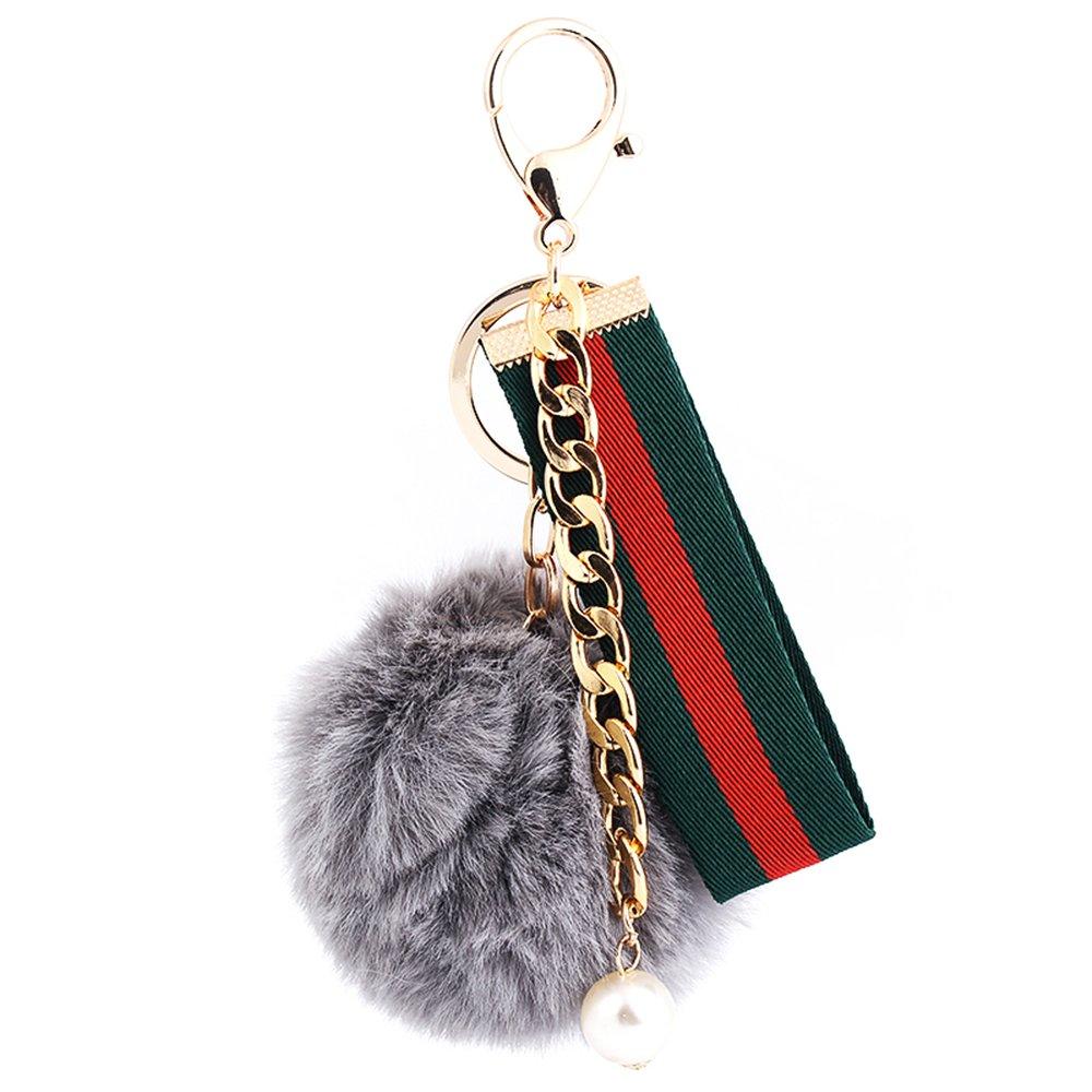 YGMONER Faux Fox Fur Pom Pom Keychain Car Bag Purse Charm Gold Ring Fluffy Fur Ball (Gray)