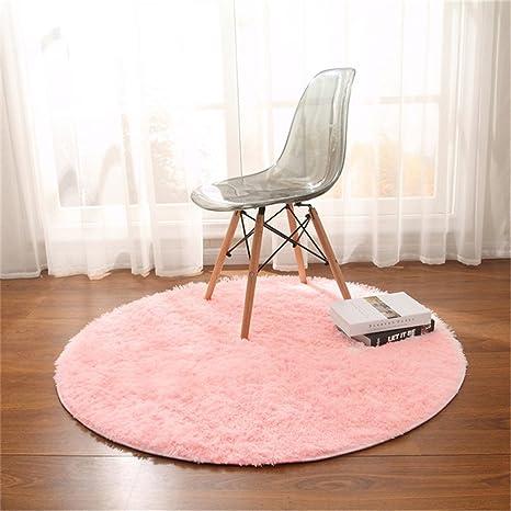 CAMAL Alfombras, Redonda Material de Lana de Seda Artificial Alfombras de Yoga para Sala de Estar Dormitorio y Baño (Rosa, 160cm)