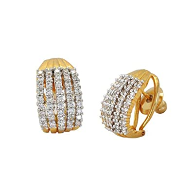 Buy Zeneme Gold & Silver Gold Plated Stud Earrings Jewellery For